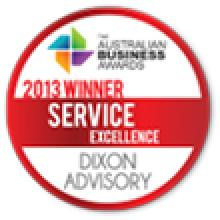 The Australian Business Awards - 2013 Winner - Service Excellence - Dixon Advisory
